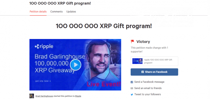 Petition on behalf of Brad Garlinghouse promotes XRP scam on Change.org