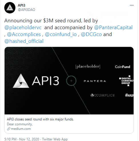 API3 raises $3Mln