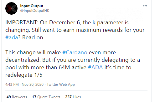 Cardano (ADA) re-considers delegation rules on Dec.6