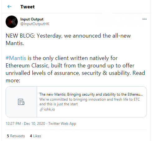 New client for ETC, Mantis, has been released by IOHK