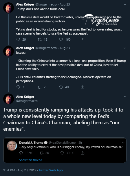 Kruger's thoughts on US president tweets