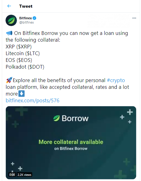 Bitfinex Borrow adds XRP, EOS, LTC, DOT as its new collateralized assets