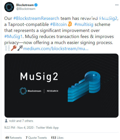 Blockstream engineers introduce MuSig2 scheme