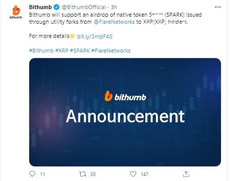 Bithumb will support Spark airdrop