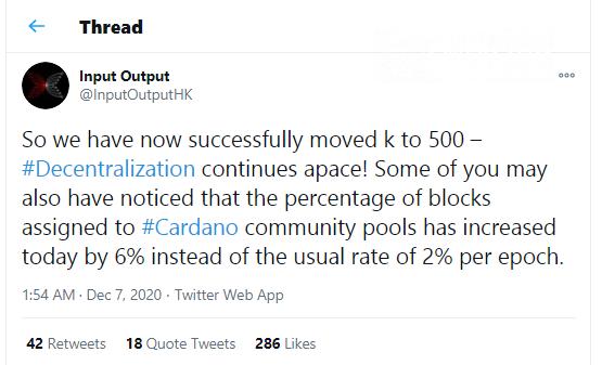 Cardano moves k to 500