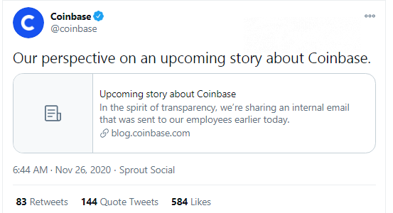 Brian Armstrong front-runs NYT negative article on Coinbase