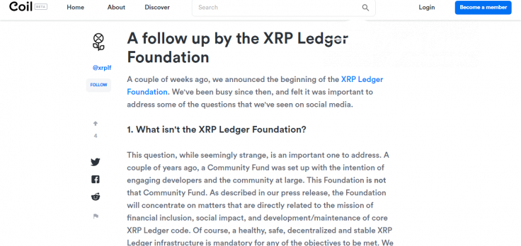 XRP Ledger Foundation shares details of its program