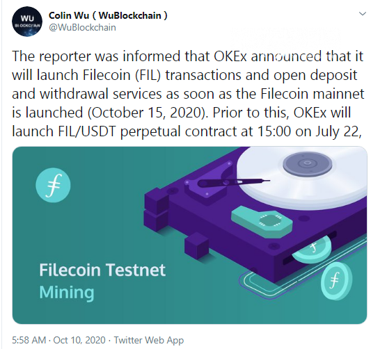Colin Wu: OKEx will list FIL once it mainnet goes live