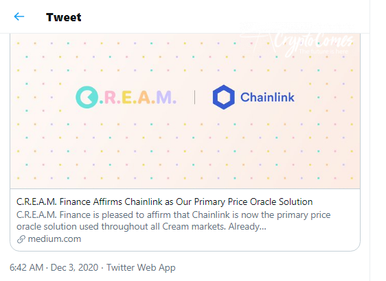 Cream adds Chainlink oracles