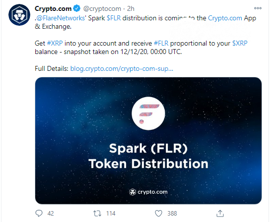 Crypto.com (CRO) and Bitstamp will support Spark airdrop
