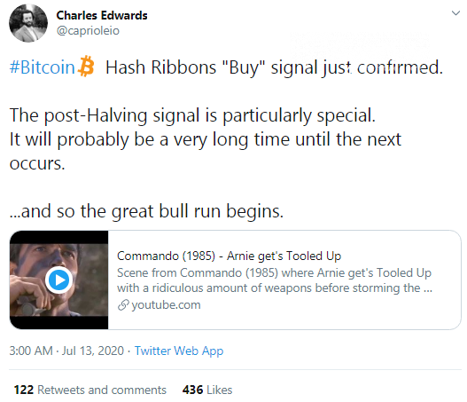 Charles Edwards indicate 'Hash Ribbon Buy' signal