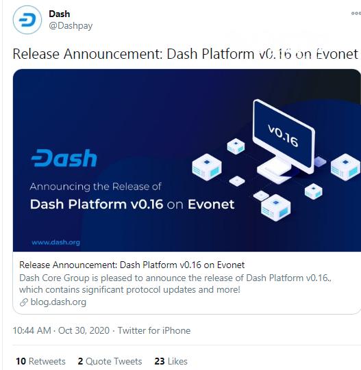 Dash (DASH) shares details of v0.16 release
