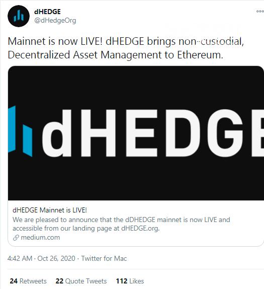 dHEDGE portfolio management platform goes live in mainnet