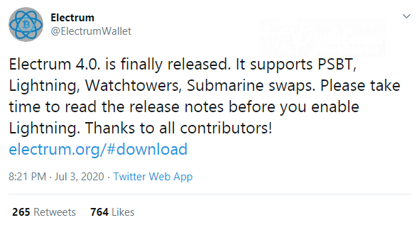 Electrum Wallet adds Lightning Network support in v4 release