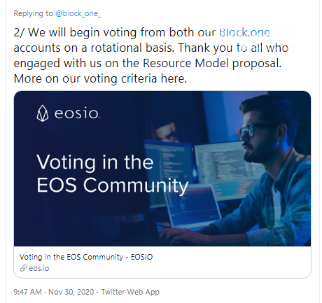 Block.one will vote for BPs on a rotational basis