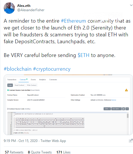 Ethereum scammers deployed frauduent ETH2 contract