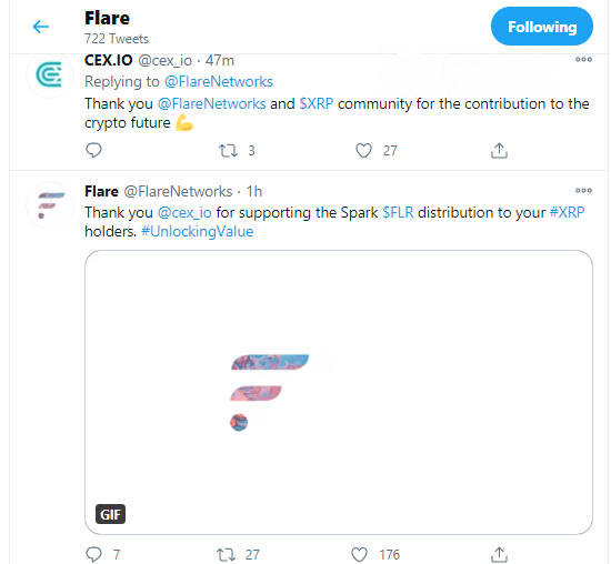 FLR distribution will be supported by CEX.io exchange