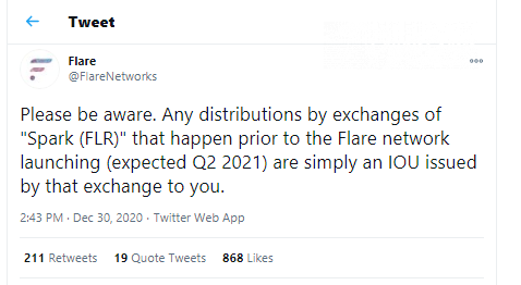 Flare Networks: 'FLR' offered by platforms are actually IoUs