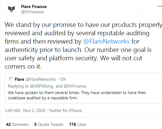 Flare Finance will perform security audit