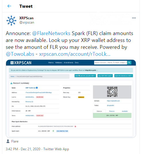 Spark (FLR) airdrop amounts now displayed in XRPScan
