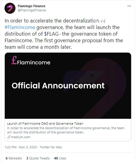 Flamingo Finance shares details of FLAG tokens distribution