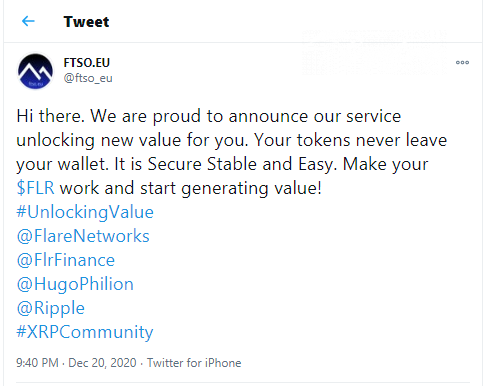 FTSO will support FLR tokens delegation from Flare Networks' mainnet day one