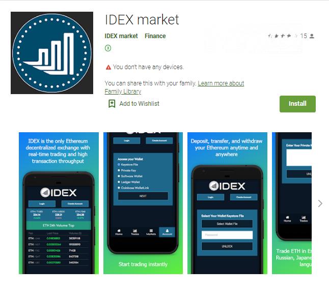 Fake IDEX app on Google Play