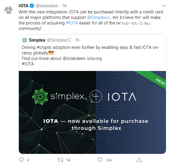 IOTA tokens can be purchased with fiat money via Simplex