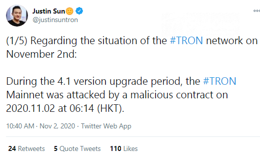 Justin Sun shares the news on Tron attack
