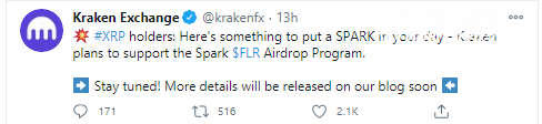 Kraken joined the club of Spark airdrop supporters