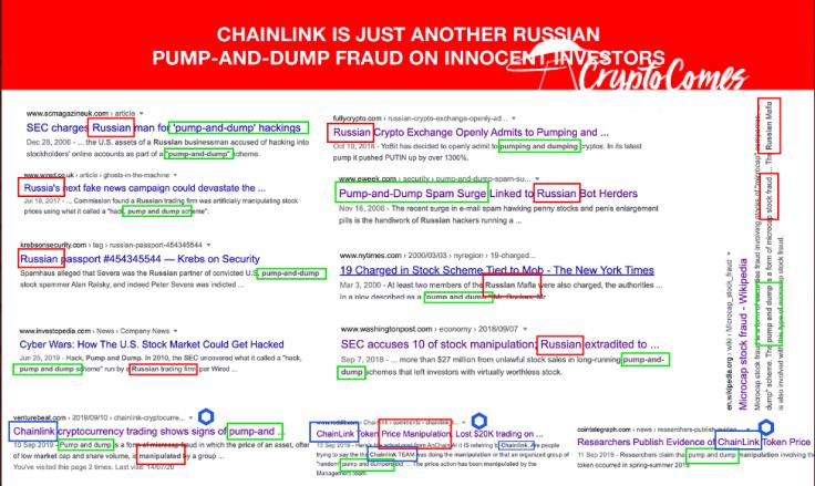 Chainlink (LINK) is a pump-and-dump scheme