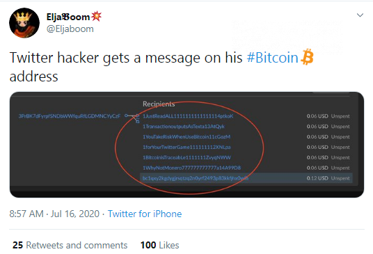 Message promoting Monero (XMR) shared by Twitter hackers