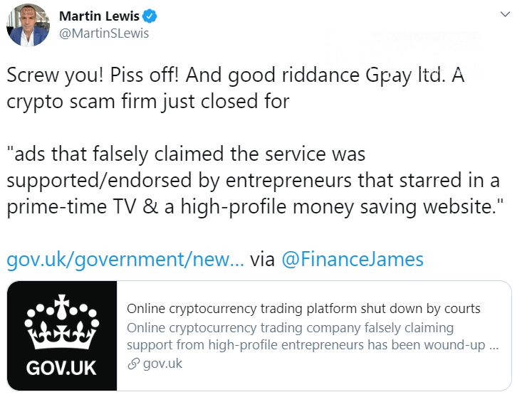 UK Courts Slams Doors on GPay Ltd Cryptocurrency Trading Website — £1.5 in Stolen Funds