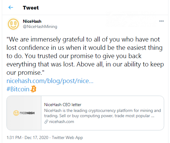Nicehash closes its repayment program: 100% of Bitcoins (BTC) are compensated