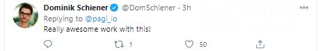 Dominik Schiener sends kudos to Pagi devs