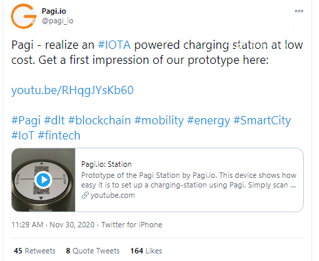 Pagi introduces IOTA-powered portable charging station