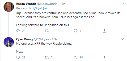 Qiao Wang slams XRP for its use-cases