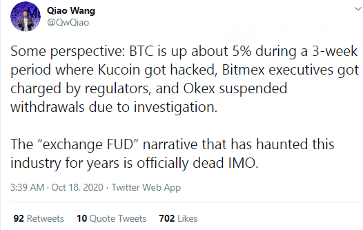 Qiao Wang indicates death of one old Bitcoin (BTC) narrative