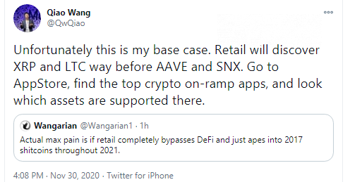 Qiao Wang: XRP, LTC will be adopted by retail before SNX, AAVE