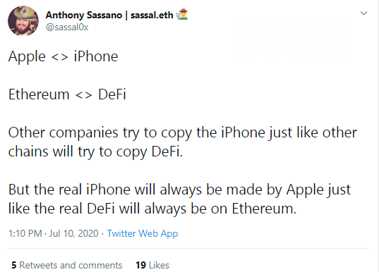 Anthony Sassano compares Ether-based DeFi to Apple's iPhone