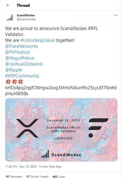 Scandinodes becomes XRPL validator.