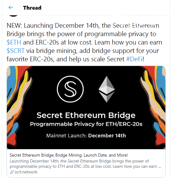 Secret Network (SCRT) launches Ethereum bridge