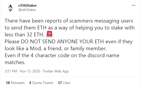 Potential Ethereum 2.0 stakers targeted by sophisticated scam