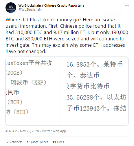 Wu: Many Plustoken's Bitcoins were sold in late 2019