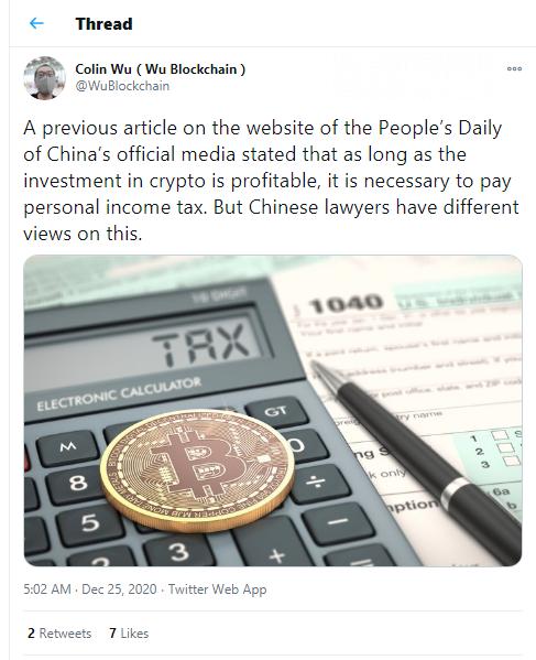 Colin Wu: CCP newspaper claims crypto profits are taxable