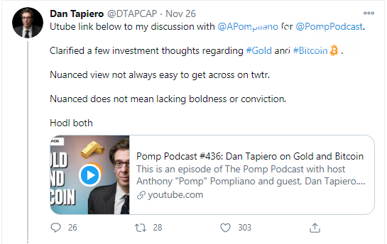 Dan Tapiero on Bitcoin and Gold: Hold both
