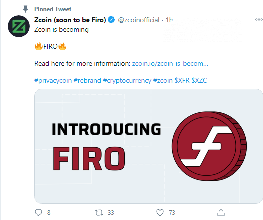 Zcoin will undergo re-branding into Firo