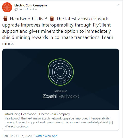 Zcash activates Heartwood upgrade
