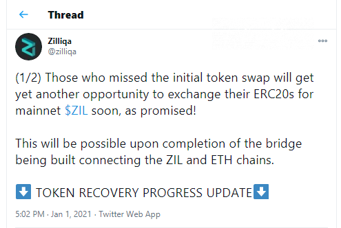 ERC-20 Zilliqa tokens will be exchanges to native blockchain units