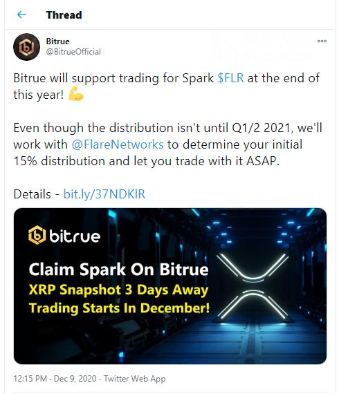 Bitrue announces Spark trading